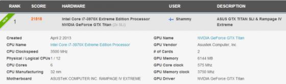 Rezultate ASUS GeForce GTX Titan