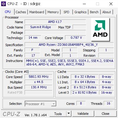 Validare CPUZ pentru AMD R7 1800x