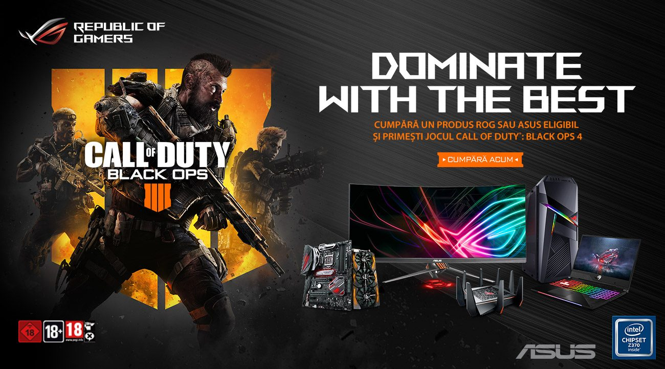 ASUS ROG vin însoțite de jocul Call of Duty: Black Ops 4