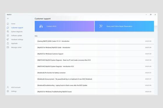Aplicația MyASUS - Suport clienți