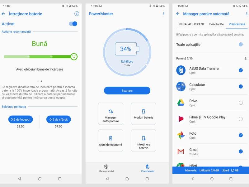 Aplicația Power Manager de pe telefonul ZenFone