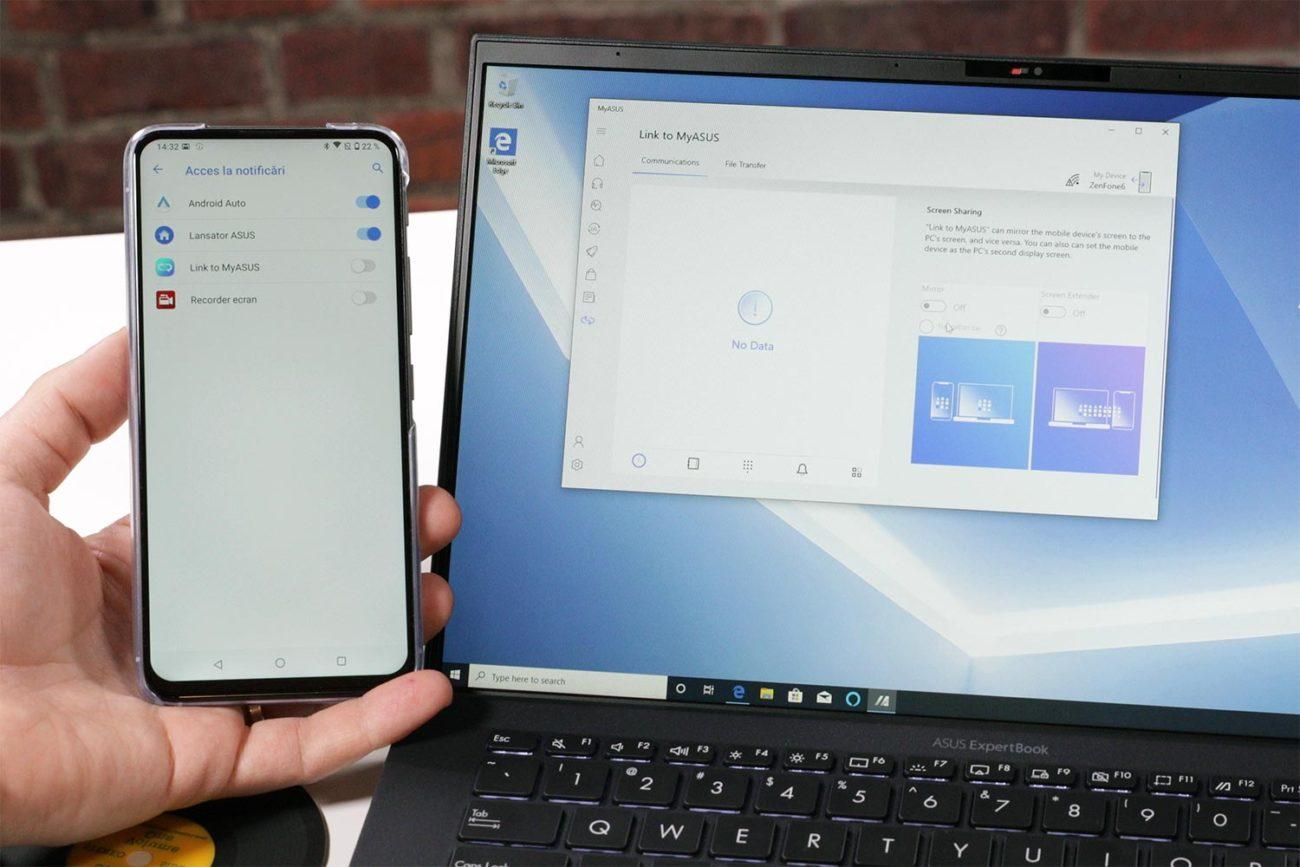 Sincronizarea telefonului cu laptopul prin Link to My ASUS