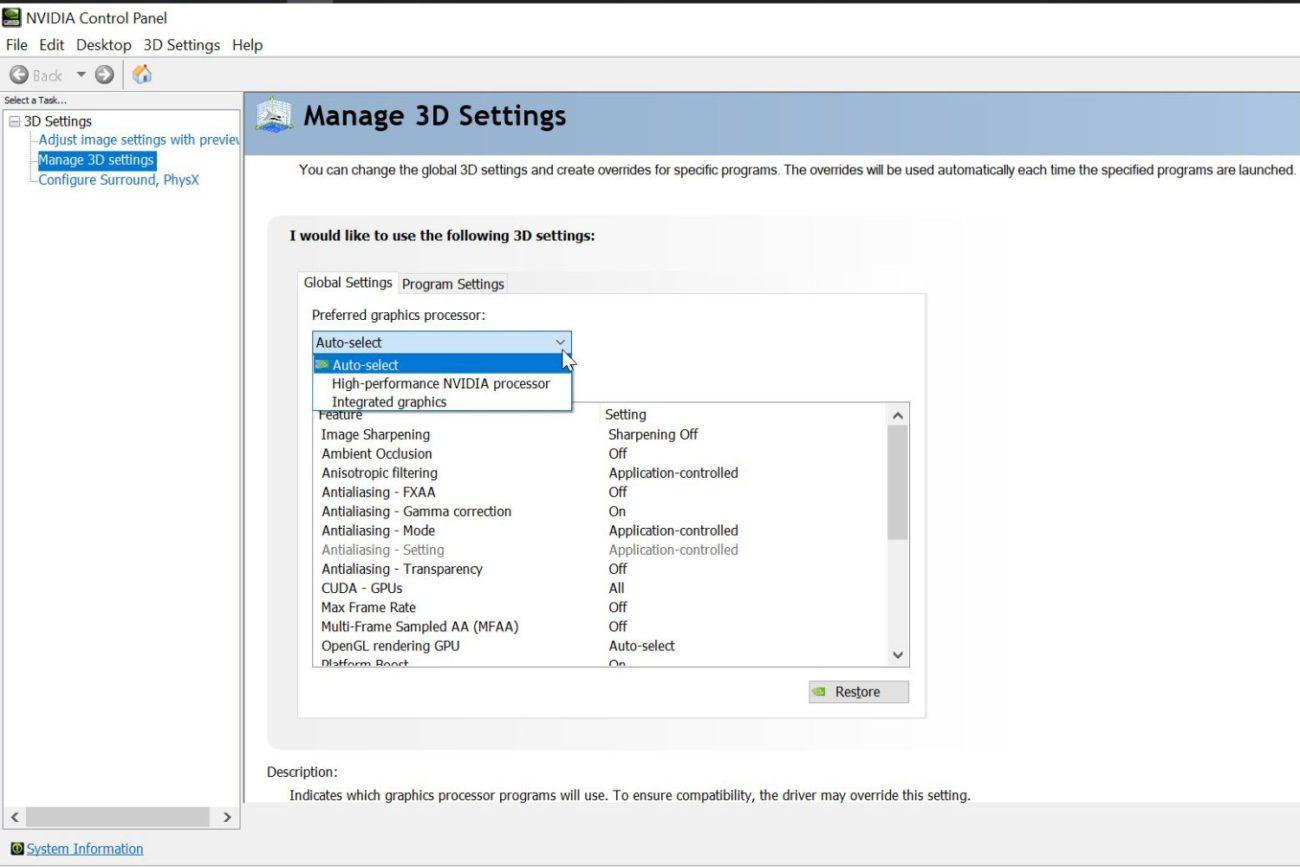 Setarea plăcii grafice implicite pe un laptop ASUS